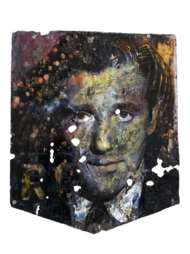 Bugsy Siegel 2018 Mixed Media on enamel Sign 35 x 29 in