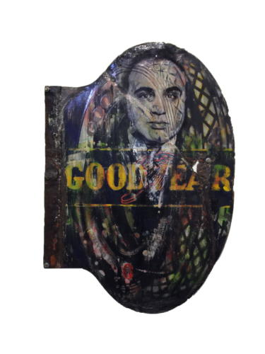 Good Year Capone 2018 Mixed Media on enamel Sign 34 x 24 in