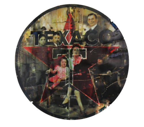 Texaco Family 2017 Mixed Media on Metal 72 in(diameter)