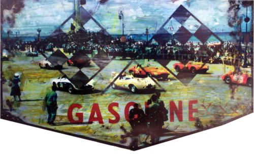 Gasoline Havana Grand Prix 2018 Mixed Media on enamel Sign 35 x 58 in 2