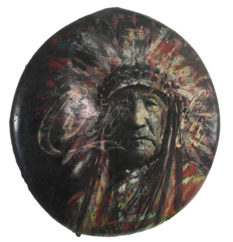 Sitting Bull 2018 Mixed Media on enamel Sign  47,2 in (diameter)