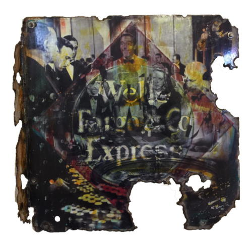 Wells Fargo Roulotte 1 2017 Mixed Media on enamel Sign 21 x 21 in 2