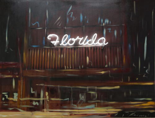 Florida 2015 Mixed media and neon 172 x 129 cm
