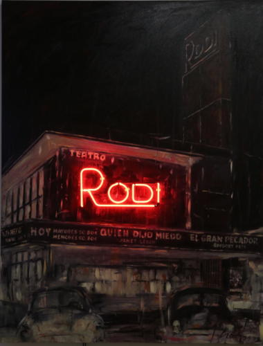 Rodi 2015 mixed media and neon 130 x 100 cm